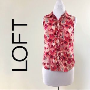 Loft Ruffle Floral Pink Red Button Up Career Tank